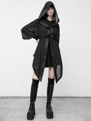 Black Street Fashion Gothic Grunge Loose Hooded Trench Coat for Women