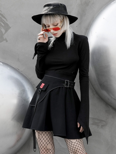 Black Gothic Simple High Neck Long Trumpet Sleeve T-Shirt for Women