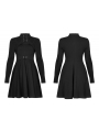Black Street Fashion Gothic Grunge Sexy Hollowed-out Long Sleeve Short Dress