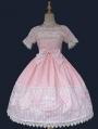 Black / Pink / Red Infanta Poodle Applique Short Sleeve Sweet Lolita OP Dress