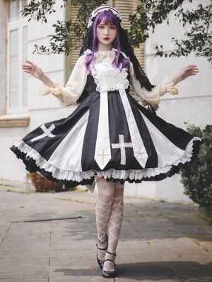 Black and White Infanta Lace Cross Classic Lolita JSK Dress
