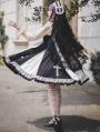 Black and White Infanta Lace Cross Classic Lolita JSK Dress