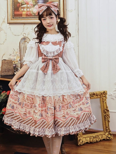 Brown / Pink / Blue Infanta The Witch's Candy House Sweet Lolita JSK Dress