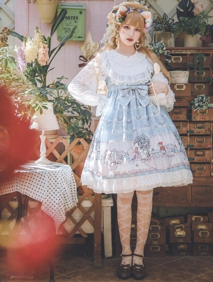 Blue / Ivory / Pink Infanta Tea Party Lace Sweet Lolita OP Dress