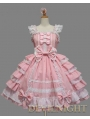 Pink and White Bow Ruffles Sleeveless Sweet Lolita Dress