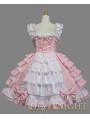 Pink and White Bow Ruffles Sleeveless Sweet Lolita Dress
