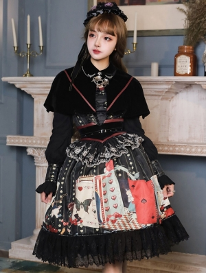 Poker Maze Black Gothic Lolita OP Dress