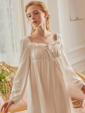 White Vintage Sweet Medieval Underwear Chemise Dress