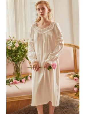 White Vintage Medieval Lace Underwear Chemise Dress