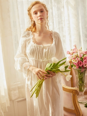 White Vintage Medieval Sweet Simple Underwear Chemise Dress