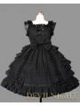Black Bow Ruffles Sleeveless Sweet Gothic Lolita Dress