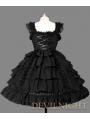 Black Bow Ruffles Sleeveless Sweet Gothic Lolita Dress