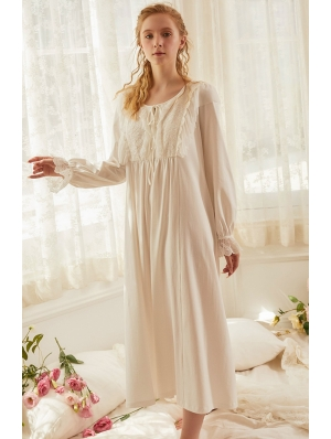 White Vintage Medieval Sweet Underwear Chemise Dress