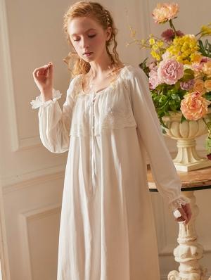 White Sweet Medieval Underwear Chemise Dress