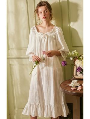 White Vintage Medieval Simple Underwear Chemise Dress