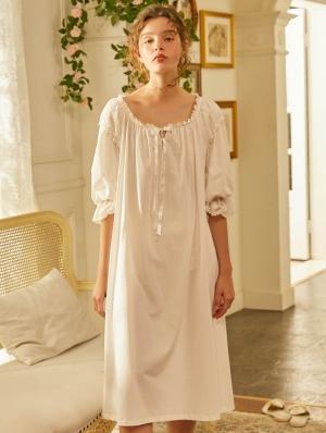White Vintage Sweet Medieval Half Sleeve Underwear Chemise Dress