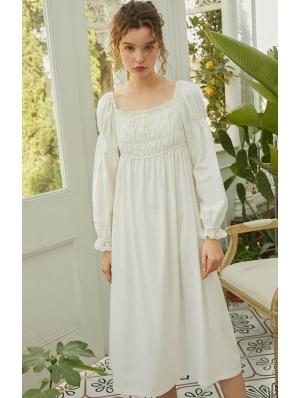 White Vintage Medieval Underwear Chemise Dress
