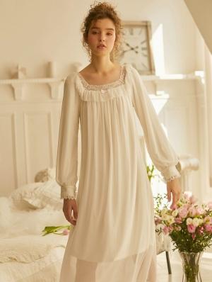 White Vintage Sweet Medieval Chiffon Underwear Chemise Dress
