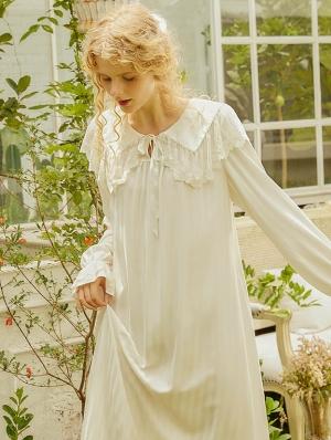 White Sweet Princess Vintage Medieval Underwear Chemise Dress
