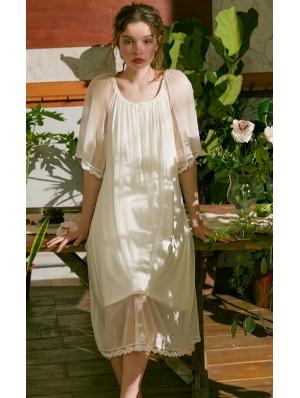 White Simple Vintage Medieval Chiffon Underwear Chemise Dress