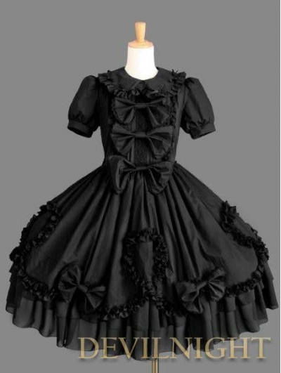 Black Sweet Bow Short Sleeves Gothic Lolita Dress