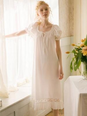 White Sweet Medieval Puff Sleeve Underwear Chemise Dress