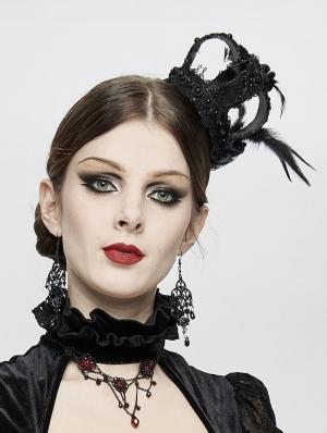 Black Gothic Queen Feather Crown Headdress