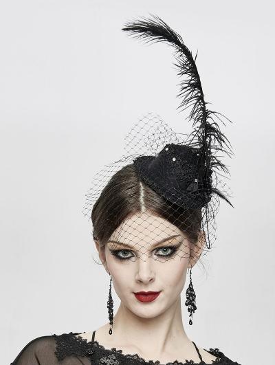 Black Gothic Party Flower Hat Headdress