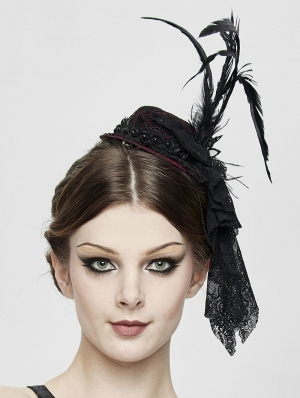 Black and Red Gothic Party Flower Feather Hat Headdress