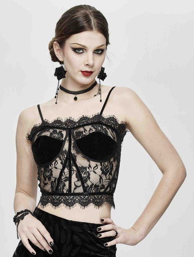 Black Sexy Gothic Perspective Lace Corset Top for Women