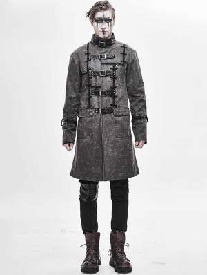 Gray Daily Wear Gothic Punk Do Old Style Long Coat for Men