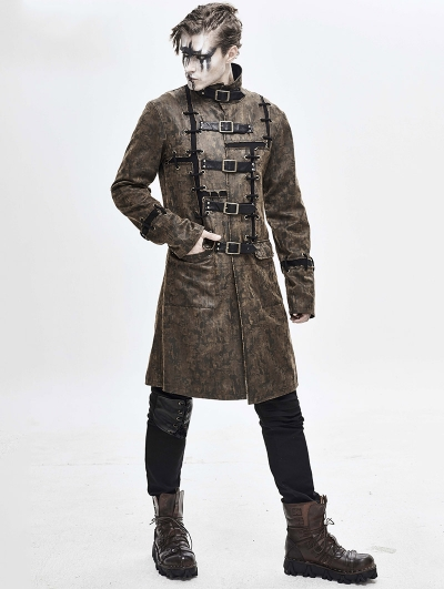 Brown Daily Wear Gothic Punk Do Old Style Long Coat for Men