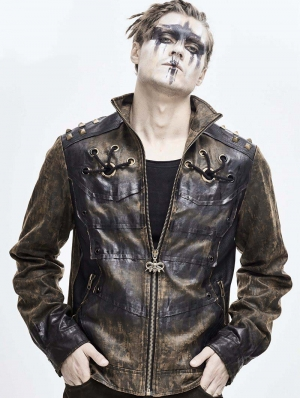 Brown Daily Wear Gothic Punk Do Old Style Rivet Short Coat for Men