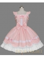 Pink and White Cap Sleeves Sweet Lolita Dress