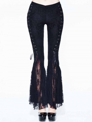 Black Daily Wear Gothic Jacquard Flared Trousers for Women