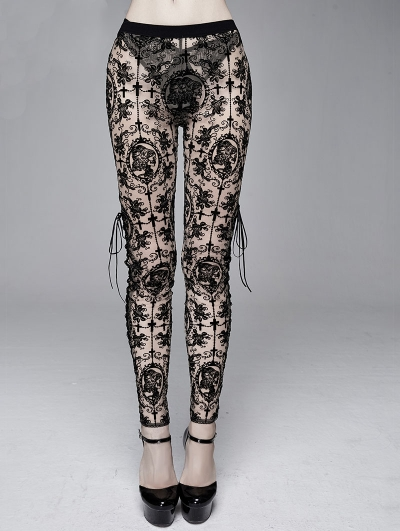 Black Sexy Vintage Gothic Transparent Legging for Women