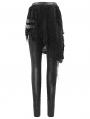Black Gothic Punk Hollowed-out Irregular Leggings for Women