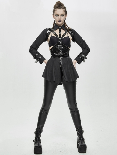 Black Sexy Gothic Punk Hollowed-out Long Sleeve Shirt for Women