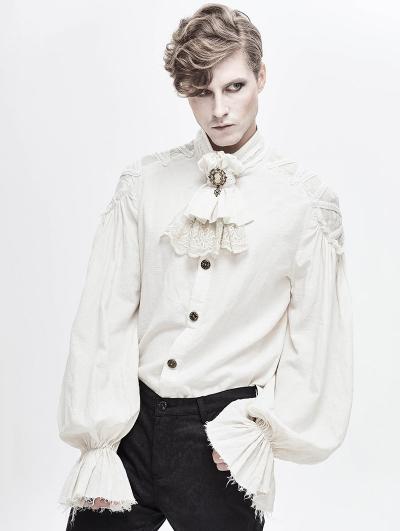 White Gothic Vintage Jacquard Long Lantern Sleeve Shirt for Men