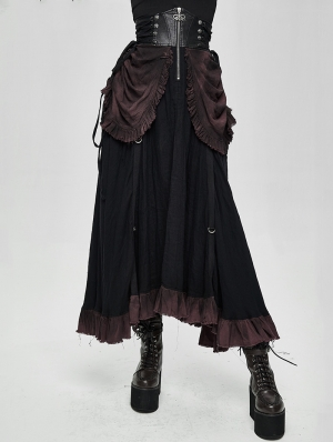 Black Steampunk High Waist Long Skirt