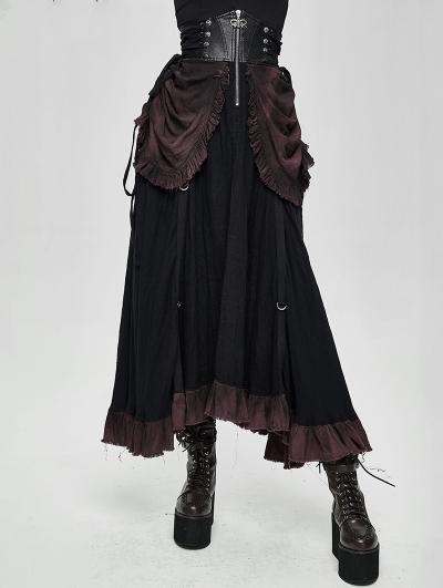 Black Steampunk High Waist Long Skirt