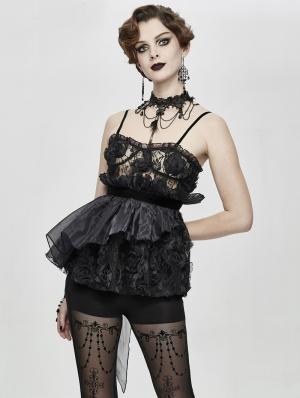 Black Romantic Gothic Flower Asymmetric Corset Top for Women