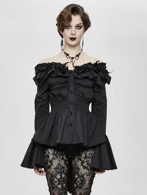 Black Romantic Elegant Gothic Flower Off-the-Shoulder Long Sleeve Blouse for Women
