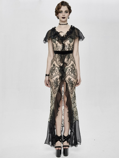 Vintage Elegant Gothic Sexy Lace Long Party Dress