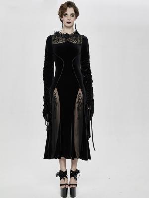 Black Sexy Gothic Velvet Long Party Dress