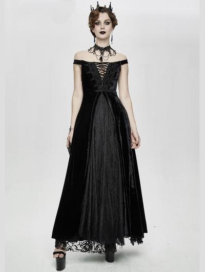 Black Vintage Sexy Gothic Off-the-Shoulder Velvet Long Prom Party Dress