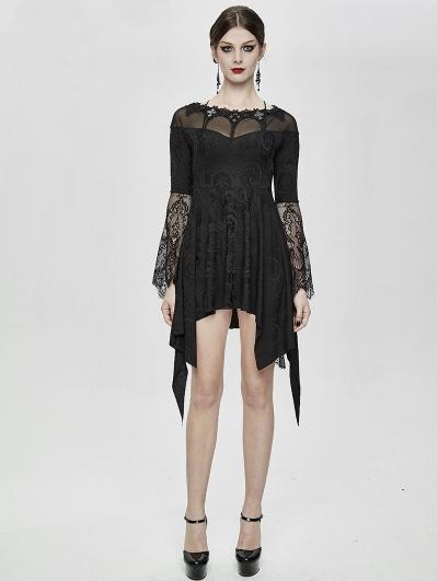 Black Vintage Gothic Jacquard Short Irregular Dress