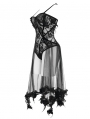 Black Sexy Gothic Transparent Lace Flower Corset Top for Women