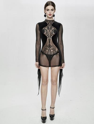 Black Sexy Gothic Transparent Long Sleeve Mini Dress