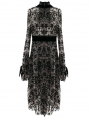 Vintage Pattern Sexy Gothic Long Sleeve High-Low Dress